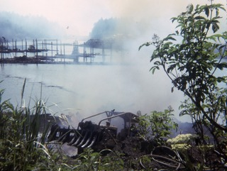 Seldovia Float Dock on fire
